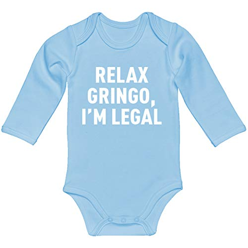 Indica Plateau Baby Romper Relax Gringo Light Blue for 6 Months Long-Sleeve Infant Bodysuit]()
