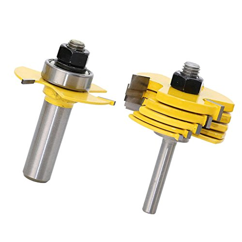 Flameer 8pcs Slot Router Bit 6 Cutter and 1/2'' & 1/4'' Shank Adjustable Wood Work Tools by Flameer (Image #7)