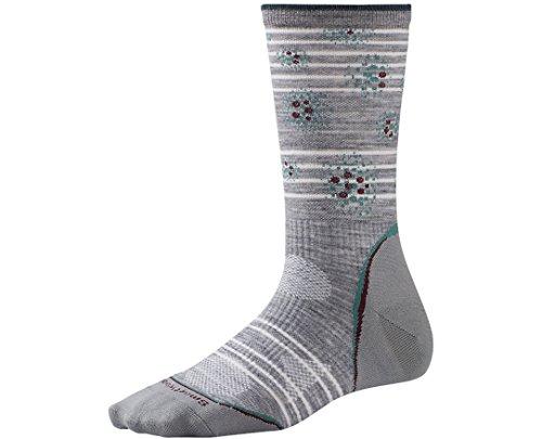 Smartwool Women's PhD Outdoor Ultra Light Pattern Crew Socks (Light Gray/Canton) Small