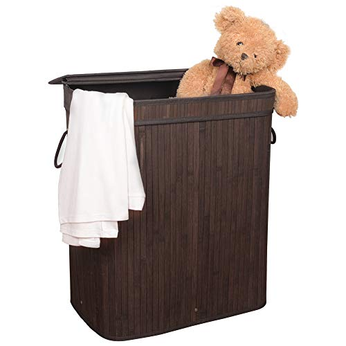 WAYTRIM Indoor Rectangular Bamboo Laundry Hamper Double Laundry Basket with Handles, Removable Liner and Lid Foldable Dirty Clothes Sorter for Living Room, Laundry Room, Bathroom or Dorm, Dark Brown