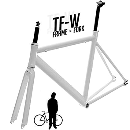 Amazon.com : CyclingDeal Track Fixie Road Bike Frame Fork White 47cm ...