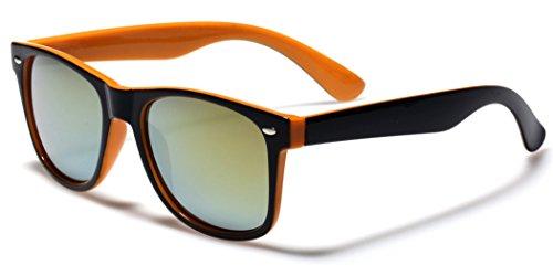 Classic Retro Fashion 2 Tone Sunglasses w/Color Mirror Lens Orange