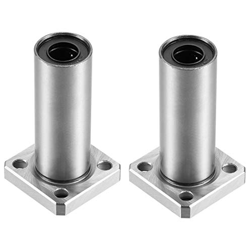 uxcell LMK10UU Extra Long Square Flange Linear Ball Bearings, 10mm Bore Dia, 19mm OD, 55mm Length Pack of 2