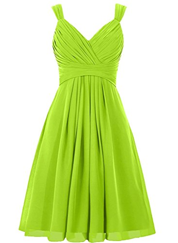 - DianSheng Double Straps V Neck Bridesmaid Dress Short Chiddon Prom Homecoming Gown Lime Green us10