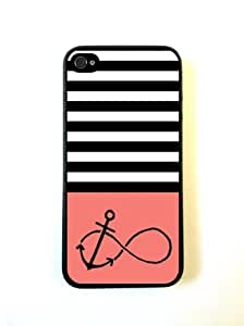 Anchored-Forever Black Stripes & Coral Black iPhone 5 Case - For iPhone 5/5G - Designer PC Case Verizon AT&T Sprint