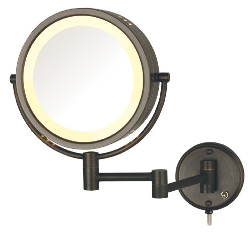 Jerdon HL75BZ 8.5-Inch Lighted Wall Mount Makeup Mirror with 8x Magnification, Bronze Finish ()
