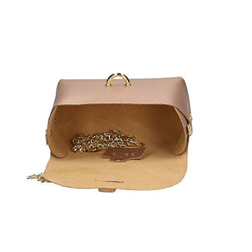 18x11x9 en fabriqué Aren femme véritable petite Cm cuir sac en italie pour à Métallique bandoulière Rose vz7Brvq