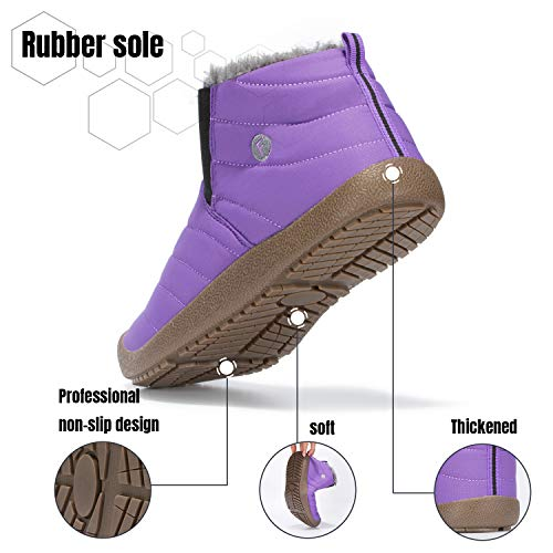 Mishansha Mens Womens Winter Snow Boot Outdoor Indoor Water Resistant Slip On Athletic Casual Walking Ankle Shoes