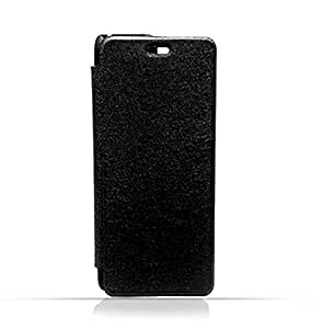 Sony Xperia C6 Black Frosted PU Leather Flip Cover