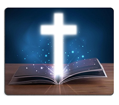 Luxlady Gaming Mousepad IMAGE ID: 22653639 Open holy bible with glowing cross in the middle on wooden deck