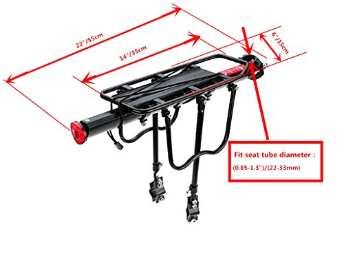 COMINGFIT 110 Lbs Capacity Aluminum Alloy Bicycle Rear Rack Adjustable Pannier Bike Luggage Cargo Rack Bicycle Carrier Racks by COMINGFIT (Image #3)