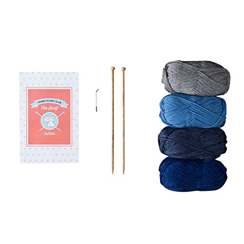 Knit Picks Learn to Knit Club: The Scarf – Beginner Knitting Kit (Blue)