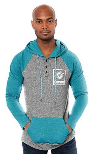 ICER Brands Adult Men Fleece Hoodie Pullover Sweatshirt Henley, Team Color, Aqua, Large