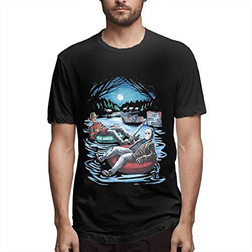 Fashion Freddy Krueger & Jason On Pool Floaties Man Slim Crew-Neck Short Sleeve Tops Funny Cotton T-Shirt,Black,Medium -