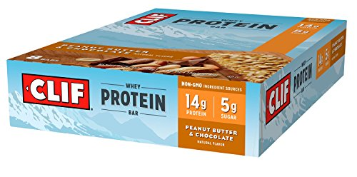 CLIF Whey Protein - Snack Bar - Peanut Butter & Chocolate - 1.98 Ounce Complete Protein Bar, 8 Count Crispy Rice Bar Peanut Butter