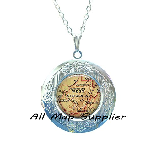 Charming Locket Necklace West Virginia map Locket Necklace, West Virginia map Locket Pendant, state map Locket Necklace, Allegheny -