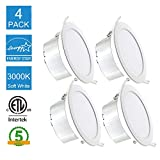 11W 4'' Led Lights for Room Recessed Ceiling Light with Junction Box,3000K,750LM, CRI80,ETL Listed,Retrofit Led Recessed Light Fixture,Suitable for Kitchen, Living Room,Office (Pack of 4)