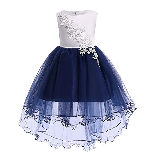 QZ Vestidos para niñas Encantadora Longitud de la Rodilla Hi-Low Navy Flower Girl Vestidos Apliques Flor Niños Vestidos...