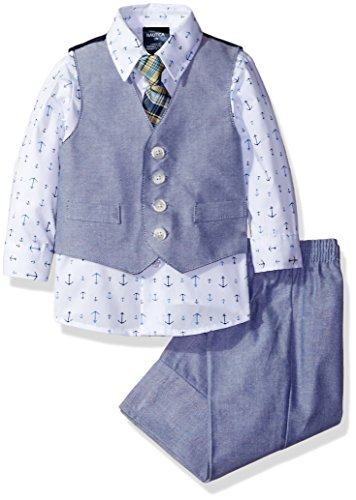 Baby Boy Dress Up Clothes (Nautica Baby Boys' Vest Set, Blue Anchors, 3-6 Months)