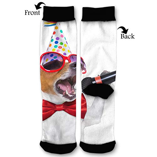 Fashion Travel Breathable Socks Singing Dog Karaoke Microphone Party Men & Women Running Casual Socks ()