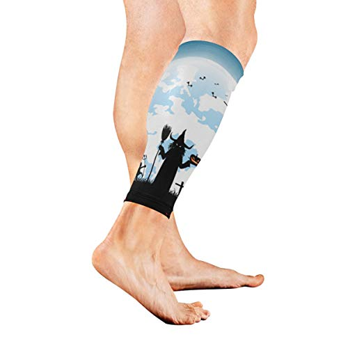 YSWPNA Full Moon On Night with Many Ghost Calf Compression Sleeve Leg Compression Socks for Shin Splint Calf Pain Relief Men Women and Runners Improves Circulation Recovery ()