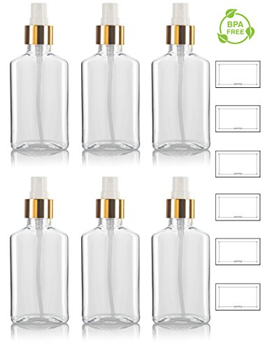 3.4 oz / 100 ml Clear PET (BPA Free) Plastic Oblong Flask Style Refillable Bottle with Shiny Gold and White Fine Mist Sprayer (6 pack) + Labels