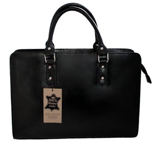 Leather Briefcase 36x27x11cm Bag Black Women's Made In Ctm 100 By Genuine Labour Handbags Italy qwzAwxYRt