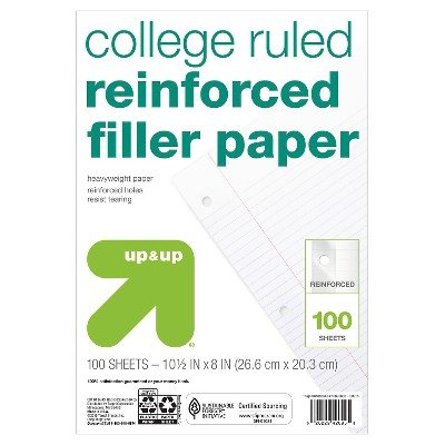 Filler Paper Reinforced College Ruled 100ct - up & up153; White by up & up™