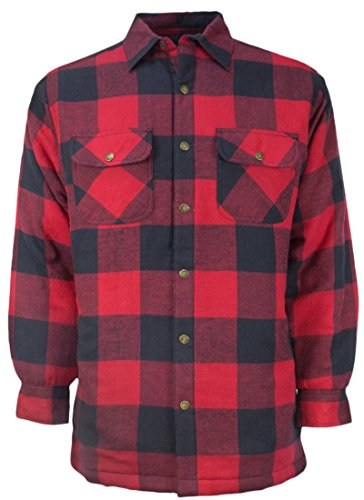 Canyon Guide Outfitters Men's Plaid Flannel Snap Front Work Shirt Jacket (Large, - Work Shirt Quilted Flannel
