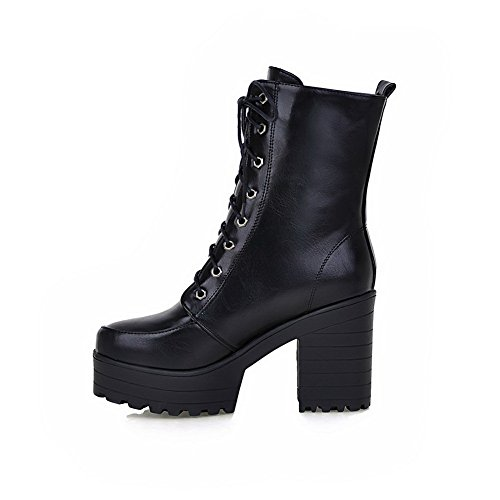 Womens schwarz imitiert Plattform Leder BalaMasa Bandage kaltem Stiefel bei Wetter Cnqdd4RO