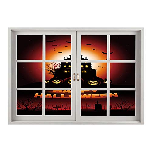SCOCICI Window Mural Wall Sticker/Halloween,Happy Halloween Haunted House Flying Bats Scary Looking Pumpkins Cemetery Decorative,Black Orange Red/Wall Sticker Mural ()