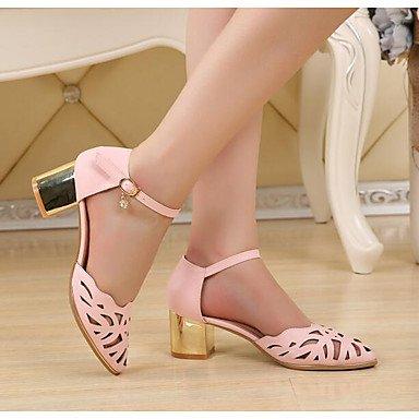 RUGAI-UE Moda de Verano Mujer sandalias casuales zapatos de tacones PU Confort,Blanca,US8 / UE39 / UK6 / CN39 Light Pink