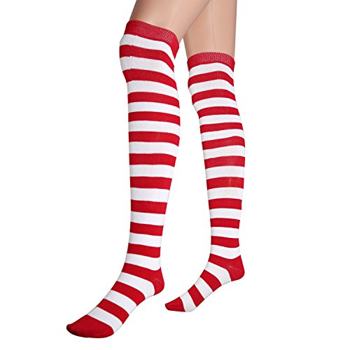 1 Pairs Wide Stripes Womens Extra Long Striped Socks(Over Knee High Opaque Stockings) (1 Pairs Wide Stripes(White&Red), OneSize)