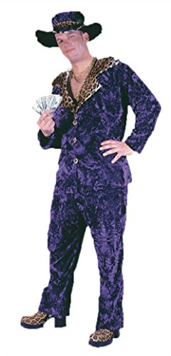 Costumes Daddy Big Velvet (Funworld Mens Retro Big Daddy Pimp Purple Velvet Theme Party Costume, One)