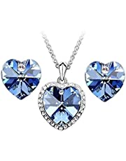 Swarovski Elements 18K White Gold Plated Jewelry Set encrusted With Matching Earrings SWR-250