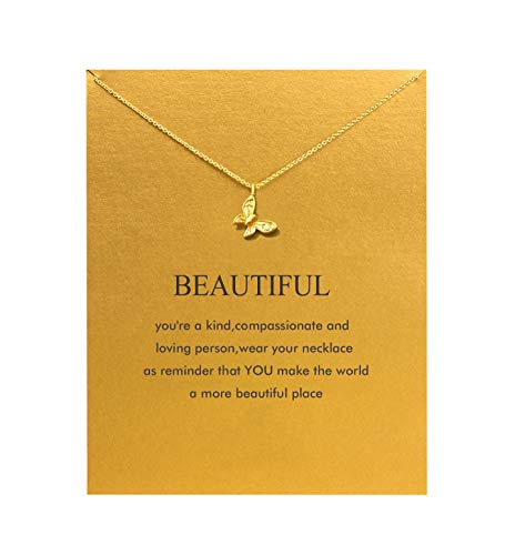 Baydurcan Butterfly Necklace with Message Card Gift Card ()