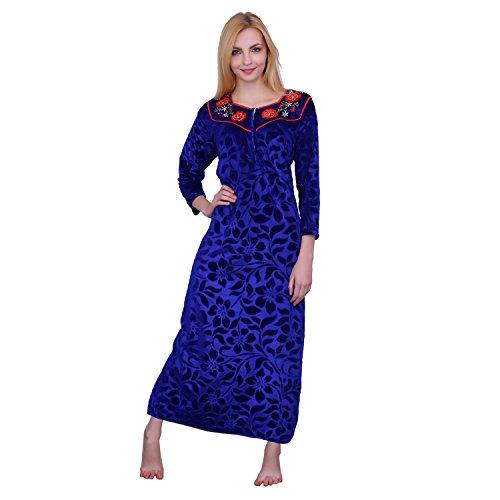 Romaisa Women's Winter Nighty (Velvet Full Sleeve Warm Nighty)