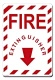Lynch Signs 10 in. x 14 in. Sign Red on White Plastic Fire Extinguisher - Arrow Down