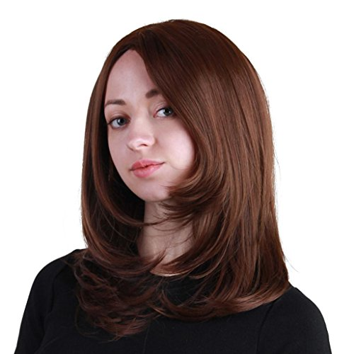 Amazon.com : Huphoon Wigs For Black Women Medium Length Wavy Curly Fluffy Natural Looking Synthetic False Hair 18 Inch (B) : Beauty