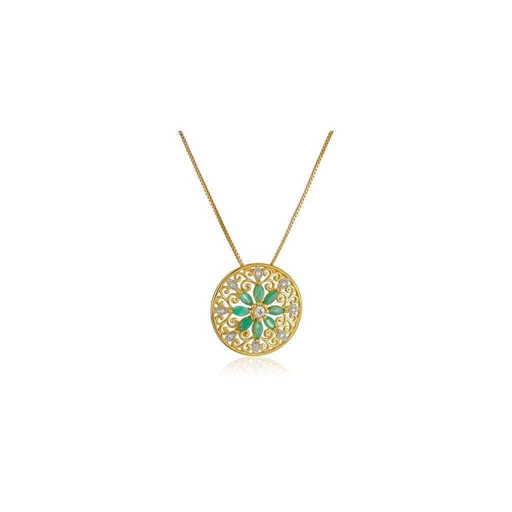 18k Yellow Gold Plated Sterling Silver Gemstone and Diamond Accent Filigree Mandala Pendant Necklace, 18″