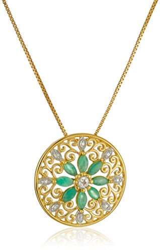 - 18k Yellow Gold-Plated Sterling Silver Mandala Genuine Emerald Filigree Pendant Necklace, 18