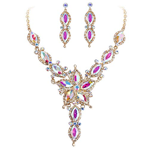 EVER FAITH Women's Marquise Crystal Flower Bridal Necklace Earrings Set Iridescent Clear AB Gold-Tone ()