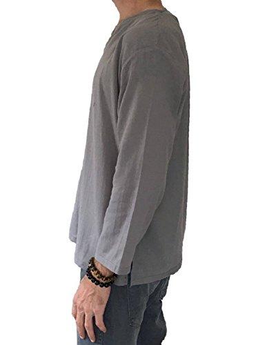 c83800e30648b Men s Grey T-shirt 100% Cotton Thai Hippie Shirt V-neck Beach Yoga