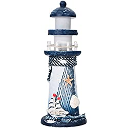 Lighthouse Decor,Sundlight Wooden Nautical Lighthouse Beacon Tower Mediterranean Sea style Beach Starfish Shell for Home Bedroom Decoration
