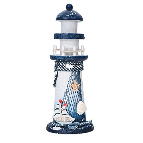 Sundlight Wooden Nautical Lighthouse Beacon Tower Mediterranean Sea style Beach Starfish Shell for Home Bedroom Decoration