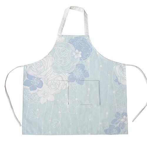 iPrint Cotton Linen Apron,Two Side Pocket,Light Blue,Victorian Style Bridal Bouquet Corsage English Roses Floristry Decorative,Light Blue Lavander White,for Cooking Baking Gardening -
