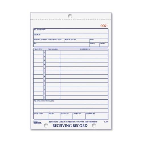 - Wholesale CASE of 20 - Rediform Carbonless Receiving Record Slip Book-Receiving Record, Carbonless, 3 Parts, 5-1/2