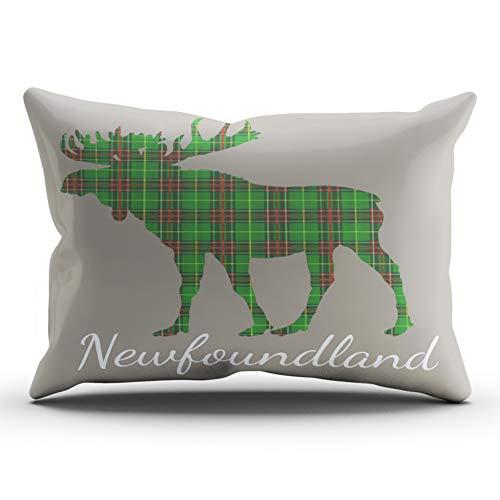 Tartan Newfoundland (WEINIYA Home Decoration Design Pillow Case Green Newfoundland Tartan Custom Moose Taupe Throw Pillowcase Custom Cushion Cover King 20X36 Inches One Sided Printed (Set of 1))