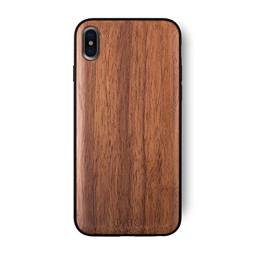 Wooden Case - iATO iPhone XS Max Wooden Case - Real Walnut Wood Grain Premium Protective Back Cover - Unique & Classy Snap on Bumper Accessory Designed for 6.5 inch iPhone XS Max (2018) | Supports Wireless Charging