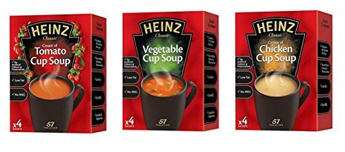 Heinz Cup Soup Variety Bundle 6 Boxes Tomato, Chicken & Vegetable Flavours 2 Packs x 4 Sachets of Each Instant Broth. Exclusive Recipe Tips Sheet.